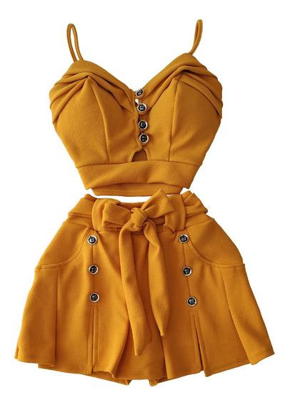 Conjunto Short Saia Curto Top Cropped Blusa Bojo Verão