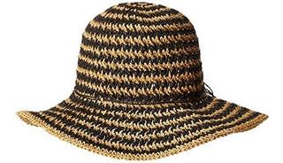 Nueve West Mujer Crochet Floppy Hat, Negro De Una Talla