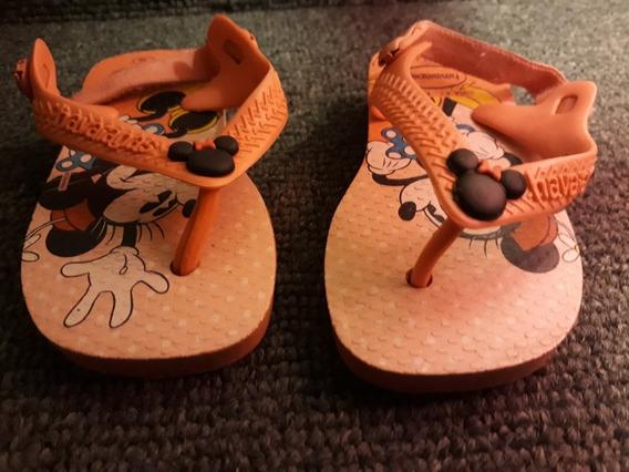 Ojotas Havaianas Beba Nena Minnie Mickey Mousse - Talle 20