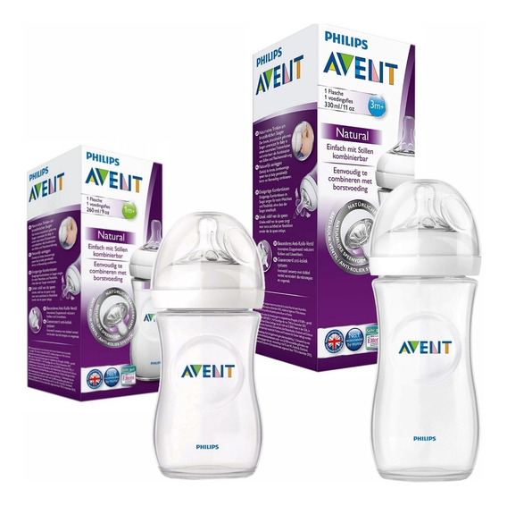 Set X2 Mamaderas Natural 260ml + 330ml Avent Mundo Manias