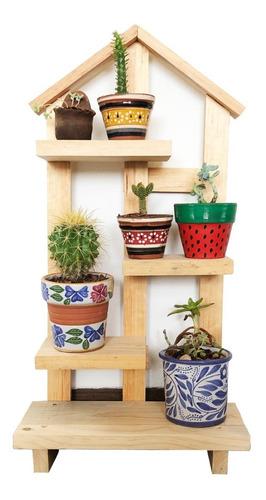 Imagen 1 de 7 de Macetero Porta Macetas En Madera De Piso O Pared Cactus