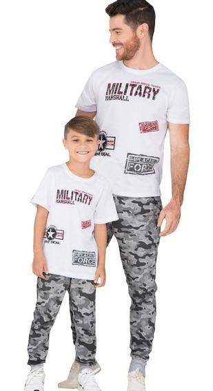 Dos Conjunto Deportivo Papa E Hijo Jogger Estampado Camiseta