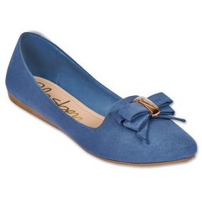 Calzado Dama Mujer Zapato Flat Clasben Gamuza En Azul Comodo