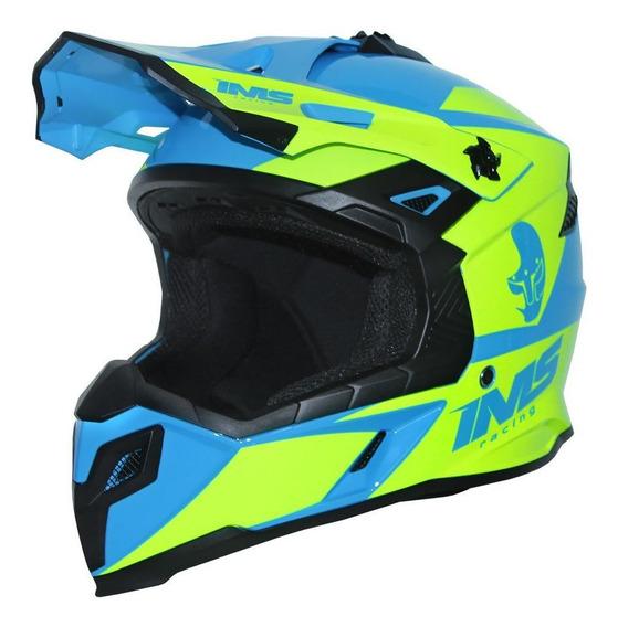 Capacete Proteção Ims Sprint Neon Azul Motocross Trilha