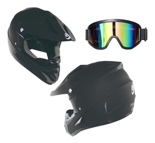 Casco Tipo Cross Bmx Mtb Negro Mate Dot Con Goggles