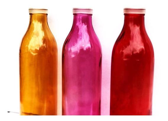 6 Botellas Colores C/ Tapa Silicona 1 Litro Rojo Deco