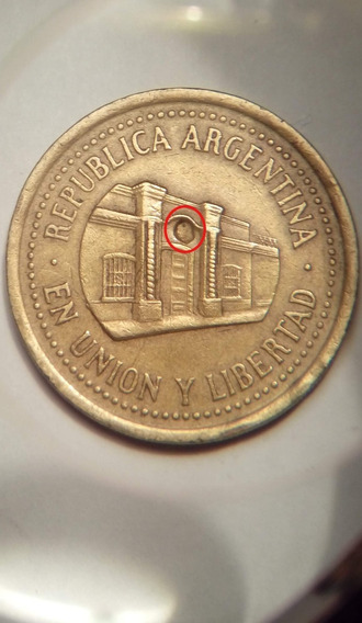 50 Centavos Peso Argentina 1994 Error Hendidura