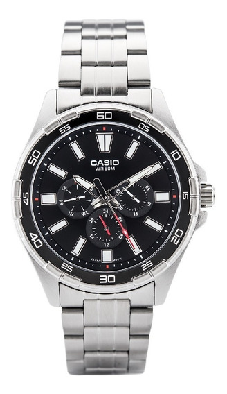 Relogio Casio Mtd 300d-1 Aço Calendário Wr50m Nf Mtd300