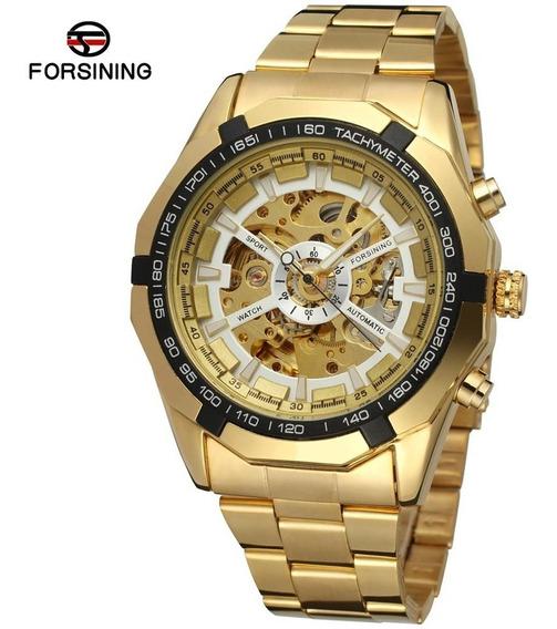 Relógio Masculino Dourado Esqueleto Automático Social Esport