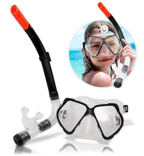 Kit Careta + Snorkel Para Buceo Piscina Playa