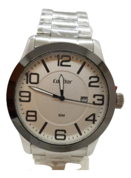 Relógio Masculino Prateado Condor + Brinde