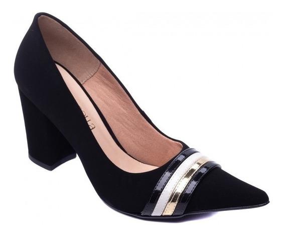 Sapato Scarpin Feminino Salto Bloco Verniz Cores Linda! 2020