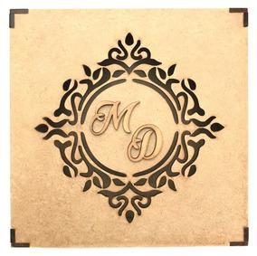 50 Caixas Casamento Brasão Iniciais Convite Padrinho 15x15cm