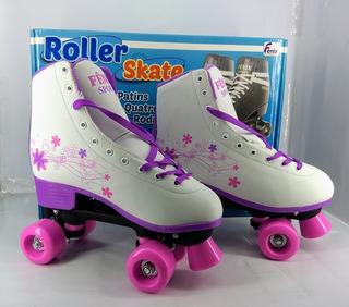 Patins 4 Rodas Clássico Branco/rosa 38/39 Ajustável Roller R