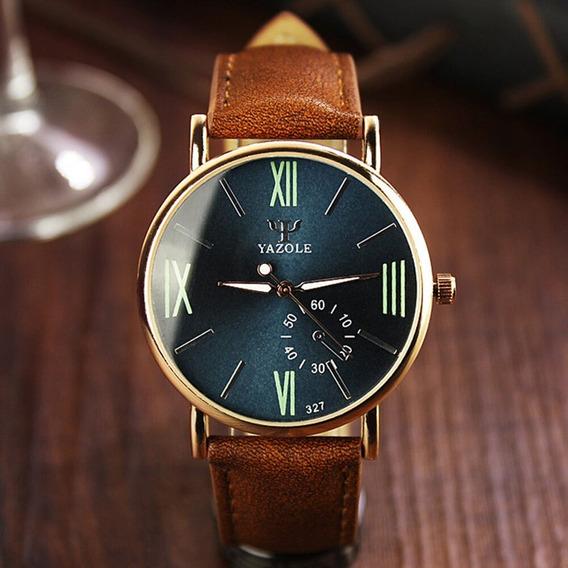 Relógio Masculino Couro Aço Inoxidável Ótima Qualidade