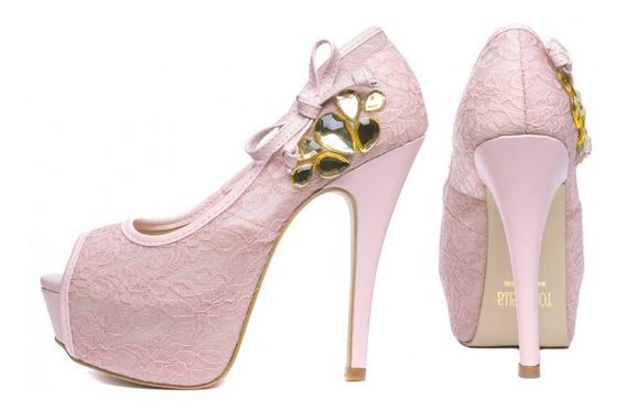 Sapato Peep Toe Social Luxo Alto Fino Meia Pata Torricella