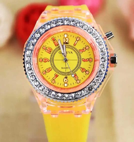 Relógio Feminino Geneva Led Várias Cores Do Led Pulseira