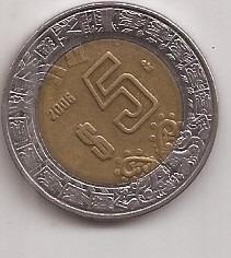 Mexico Moneda Bimetalica 5 Pesos Año 2006