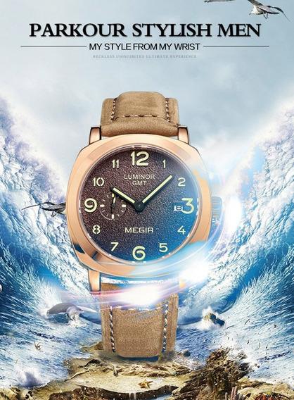 Relógio Megir Luminous Com Pulseira De Couro