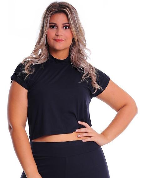 Cropped T-shirt Plus Size Blusa Feminina Top Básico Malha
