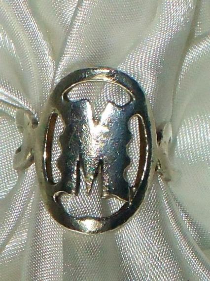 Elegante Anel Letra M Vintage Unissex Em Prata-de-lei,déc70