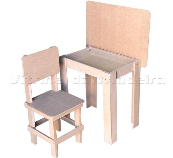 Mesa Carteira Infantil Com Cadeira Mdf Tampa Levanta 3794