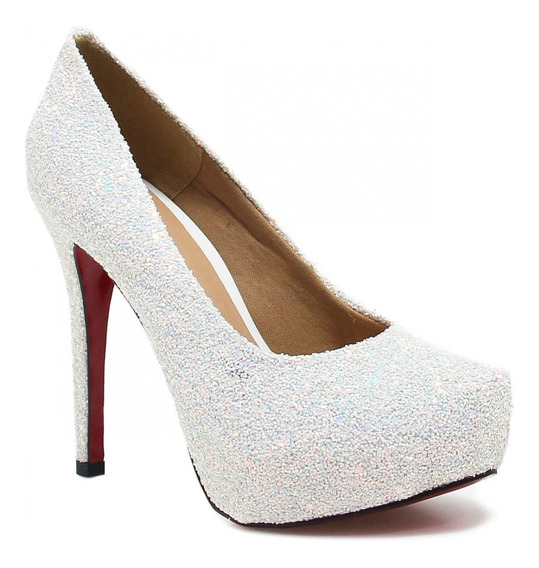 Sapato Feminino Zariff Shoes Noivas Pump Glitter 7428