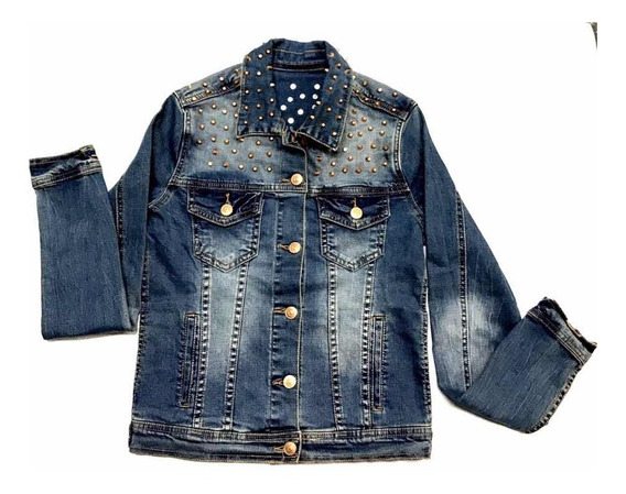 Jaqueta Jeans Feminina Aishty Lycra Spike Comprimento Normal