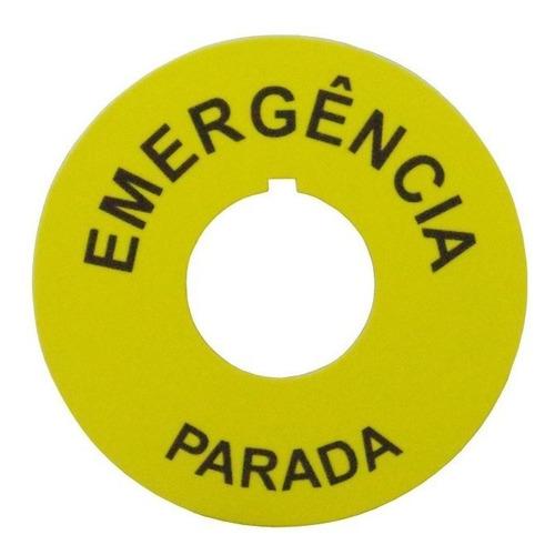 05 Pçs - Etiqueta Para Botão De Emergência 22mm - Promoção!!