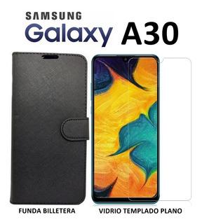 Funda Billetera + Templado Plano Samsung Galaxy A30 Rosario