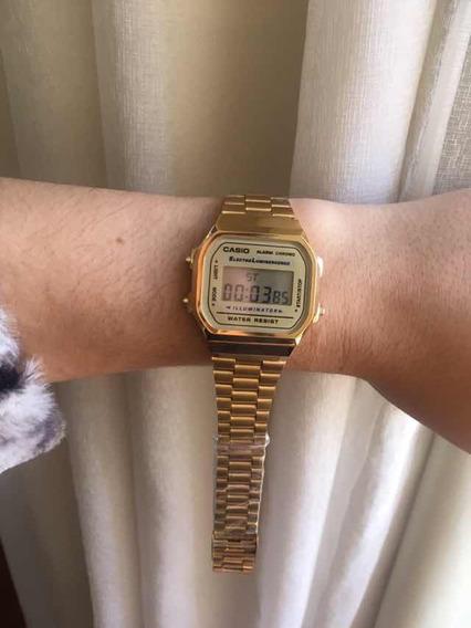 Relógio Casio Dourado Feminino A Prova Dágua Unissex Resiste