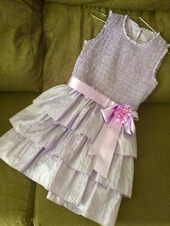 Vestido Festa Tafetá Lilás Infantil - Usado- Tamanho 10 Anos