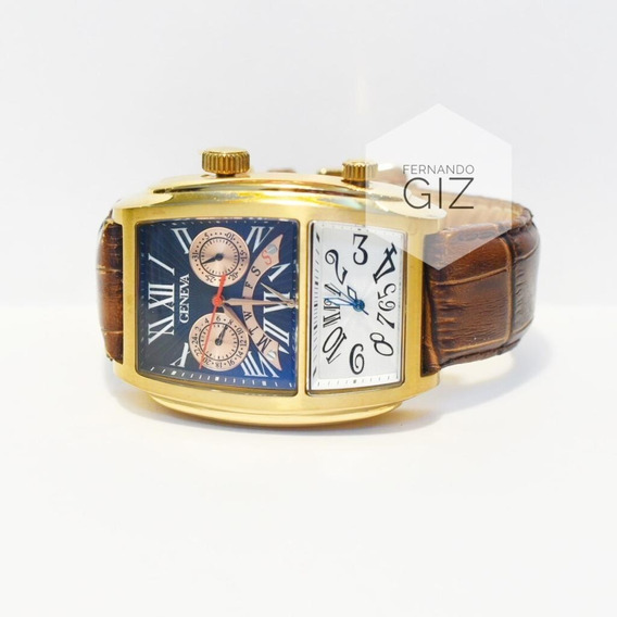 Relógio Cronógrafo Geneva Original Visor Duplo