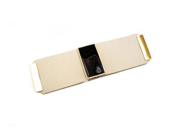 Bracelete Em Couro Nude Com Detalhe Preto 5534