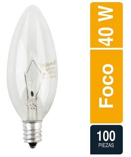 100 Focos Incandescente Decorativo Vela 40w E12 Sanelec
