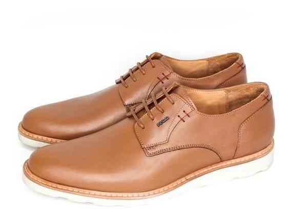 Zapato De Vestir 100% Cuero Acordonado Base De Goma Blanca E