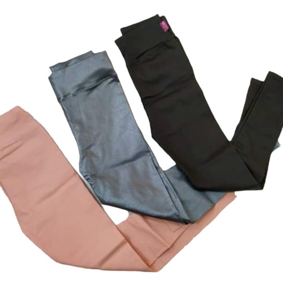 Calza Engomada Negra-gris-rosa Para Niñas Talles 4 Al 16