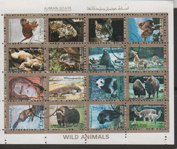 Animais Selvagens - Bloco De Ajman State - 7633