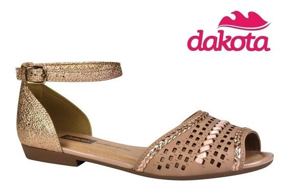 Sandália Rasteira Dakota Metalizado Rose Z3642 Confortável