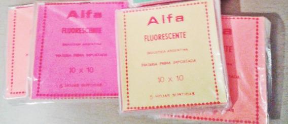 Papel Glasé Fluo Tamaño 10 X 10 Cm ; Alfa Taco X 500 Hjs