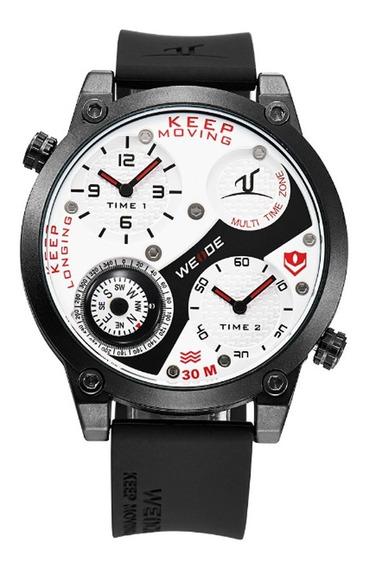 Relógio Masculino Weide Analógico Uv-1505 - Preto E Vermelho