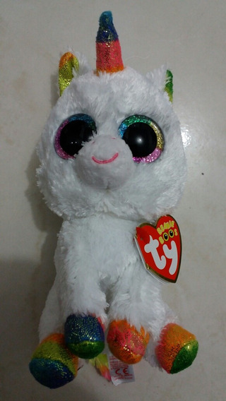 Pelucia Unicórnio Medio Branco Beanie Boos Olhos Glitter