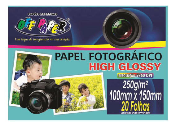 Papel Fotográfico High Glossy 250gr 20 Folhas Off Paper