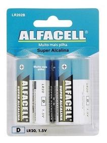 Pilha Alcalina D - Alfacell - Pacote Com 2 Unidades 15 Und