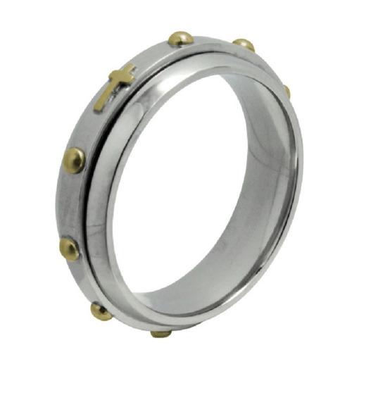 Anel / Aliança Terço Giratória Aço Inox Com Ouro 18k
