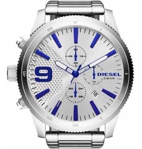 Relógio Diesel Masculino Prata Numero Azul Dz4452/1cn