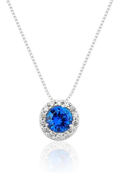 Colar De Prata Cristal Azul Princesa