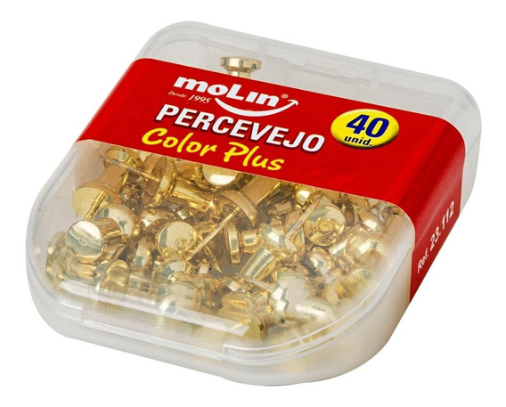 Percevejo Color Plus Dourado Com 40 Unidades