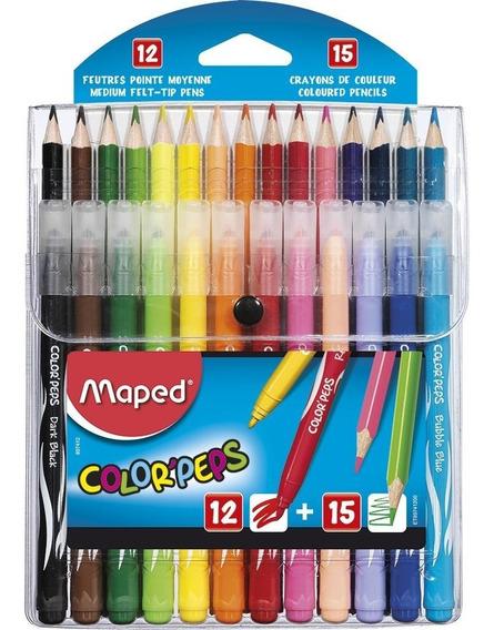 Kit Maped Lapis De Cor 15 Cores + Caneta Hidrográfica 12 Co
