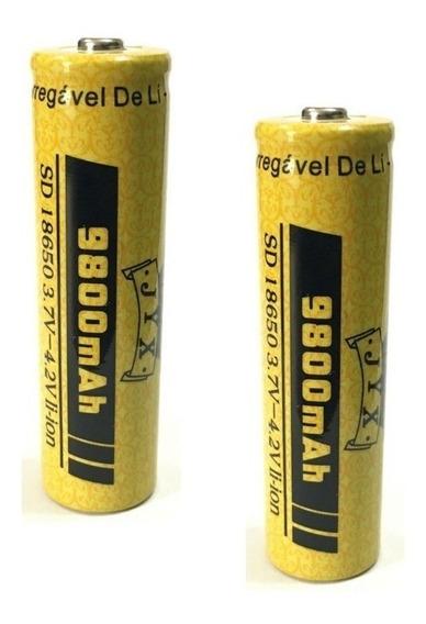 2 Bateria Recarregável 18650 3.7v - 4.2v 9800mah P/ Lanterna